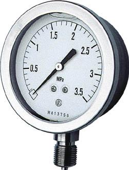 長野 グリセン入圧力計【GV51-133-0.1MP】(計測機器・圧力計)