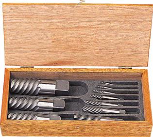 TRUSCO エキストラクターセット ラセン型 10本組 木箱入【EXS-1826】(ねじ切り工具・タップ除去工具)