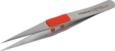 TRUSCO ラバーグリップ付ステンレスピンセット 120mm 強力型【TSP-210】(はんだ・静電気対策用品・ピンセット)