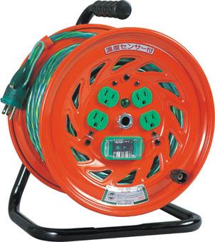 日動 特殊機能付電工ドラム アースチェックリール アース漏電しゃ断器付 30m【GNF-EB34】