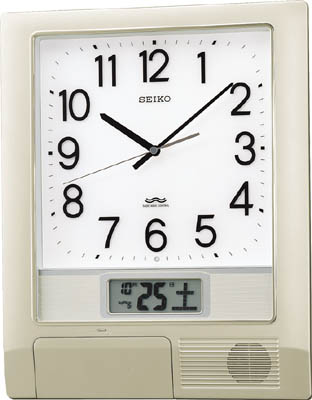 SEIKO 電波プログラムクロック 429×345×57 銀色メタリック【PT201S】(OA・事務用品・掛時計)