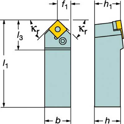 サンドビック T-Max P ネガチップ用シャンクバイト【PSDNN 1212F 09】(旋削・フライス加工工具・ホルダー)