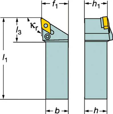 サンドビック T-Max P ネガチップ用シャンクバイト【PDJNR 2525M 11】(旋削・フライス加工工具・ホルダー)