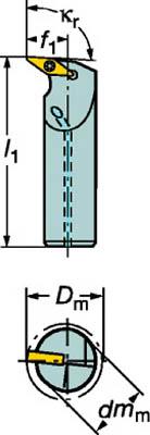 サンドビック コロターン107 ポジチップ用ボーリングバイト【A25T-SVUBR16-D】(旋削・フライス加工工具・ホルダー)