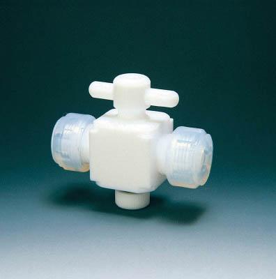 フロンケミカル 二方バルブ接続10mm【NR0028-03】(理化学・クリーンルーム用品・特殊継手)