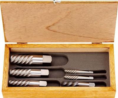 TRUSCO エキストラクターセット ラセン型 6本組 木箱入【EXS-1822】(ねじ切り工具・タップ除去工具)