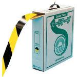 緑十字 ラインテープ(ガードテープ) 黄/黒 再剥離タイプ 50mm幅×100m【149036】(テープ用品・ラインテープ)