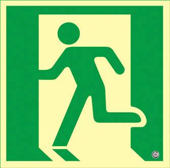 緑十字 高輝度蓄光避難誘導ステッカー標識 非常口 200×200mm 消防認定品【360815】(安全用品・標識・非常用標識)