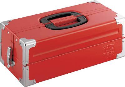 TONE ツールケース(メタル) V形2段式 433X220X160mm レッド【BX322S】(工具箱・ツールバッグ・スチール製工具箱)