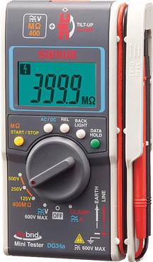 SANWA ハイブリッドミニ絶縁抵抗計 ケース付【DG34A/C】(計測機器・電気測定器)
