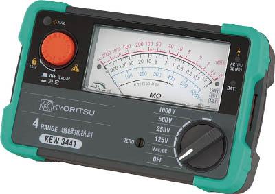 KYORITSU 4レンジアナログ絶縁抵抗計【KEW3441】(計測機器・電気測定器)