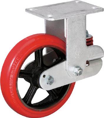 イノアック バネ付き牽引車輪 ウレタン車輪タイプ 固定金具付 キャスター 1年保証 KTU-150WK-YS 緩衝キャスター (人気激安) Φ150