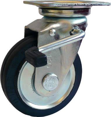 シシク スタンダードプレスキャスター ゴム車輪 自在ストッパー付 250径【WJB-250】(キャスター・プレート式ゴム車)【送料無料】