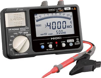 HIOKI 5レンジ絶縁抵抗計 セミハードケースモデル【IR4052-10】(計測機器・電気測定器)