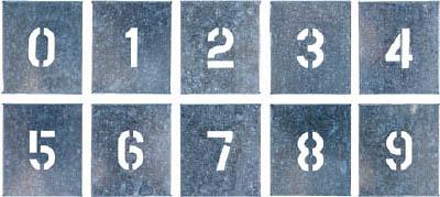つくし 吹付プレート 数字(0~9) 10枚組 中サイズ【J-91B】(安全用品・標識・安全標識)