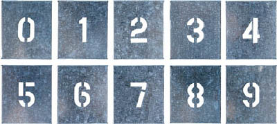 つくし 吹付プレート 数字(0~9) 10枚組 大サイズ【J-91C】(安全用品・標識・安全標識)