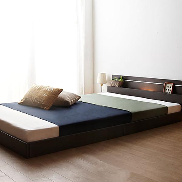 国産 日本製 ベッド ダブル ローベッド 棚 照明付 連結 フロアベッド 【PLOMO】プロモ 二つ折りボンネルコイル マットレス付 ダブル (代引き不可)【送料無料】