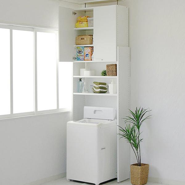 【日本製】ランドリーラック 天井突っ張り式の洗濯機ラック サニタリーラック ランドリー収納 つっぱり洗濯機ラック80型 (代引不可)【送料無料】