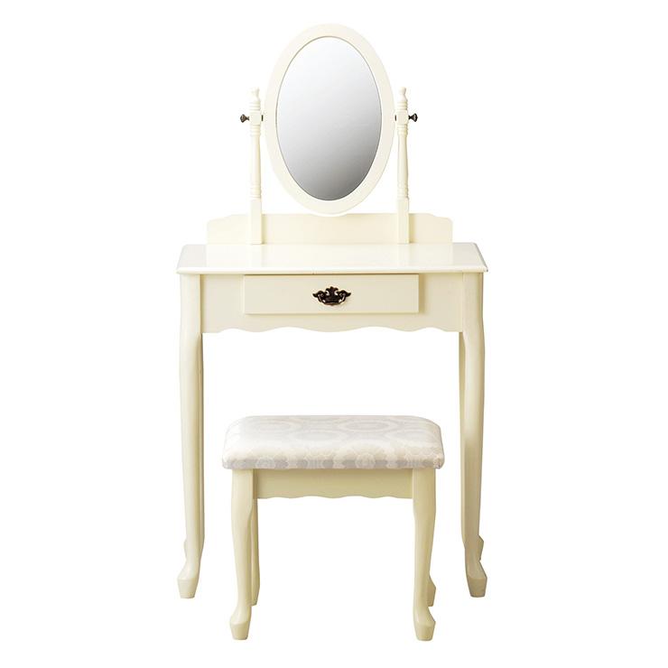ドレッサー ホワイト スツール付き 姫系 かわいい 引出し付き 姿見 ミラー付き 鏡付き おしゃれ フレンチ(代引不可)【送料無料】