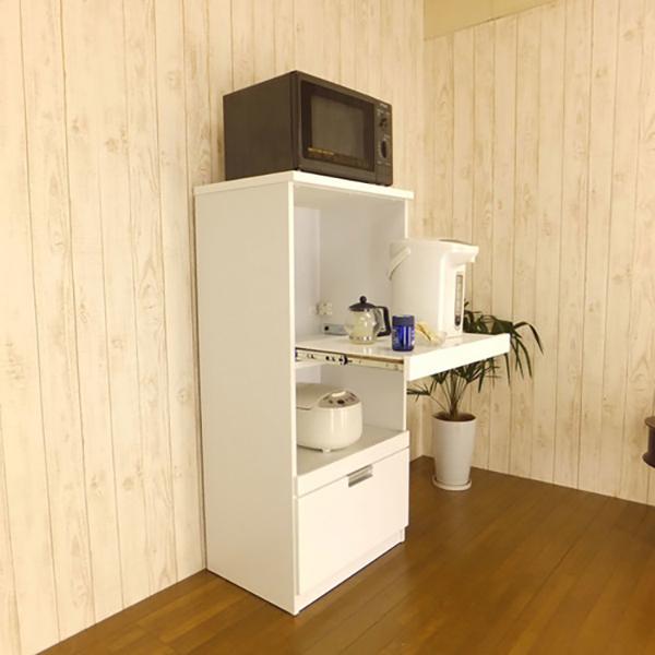 【テラノ】レンジ台 幅60cm(ホワイト鏡面塗装)(代引不可)【送料無料】