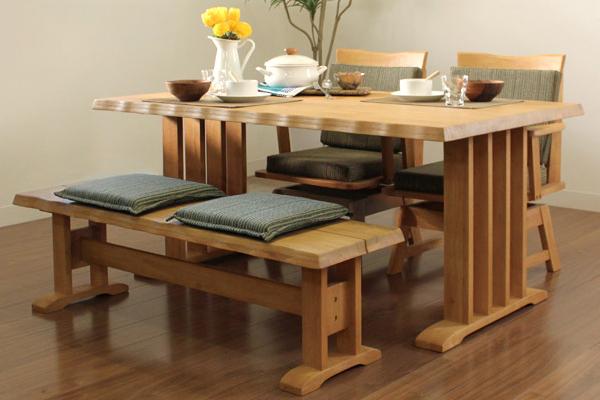 ダイニングテーブル 4点セット ダイニングセット 4点 ベンチ 伊吹 150cm幅/4人掛け用 木製(代引不可)【送料無料】
