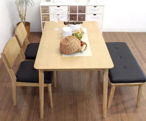ダイニングテーブル 4点セット ダイニングセット 4点 ベンチ 北欧 天然木 ローブル 120cm幅/4人掛け用 木製(代引不可)【送料無料】