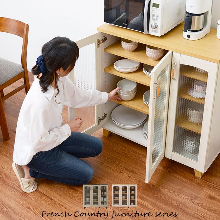 フレンチカントリー食器棚 幅90cm カリーナ ロータイプ キッチンボード キッチン収納 キャビネット キッチンラック 食器ラック(代引不可)【送料無料】【S1】
