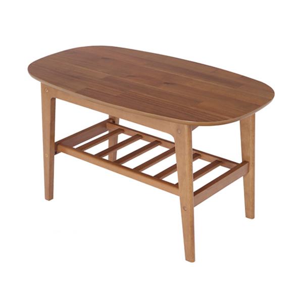 棚付きセンターテーブル 幅90cm 木製 テーブル 天然木 ソファテーブル リビング レトロ シンプル モダン(代引不可)【送料無料】