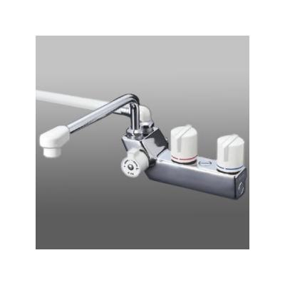 KVK ケーブイケー デッキ形一時止水付2ハンドルシャワー 左側シャワー 寒冷地用 固定こま仕様 取付ピッチ85mm KF207ZR3