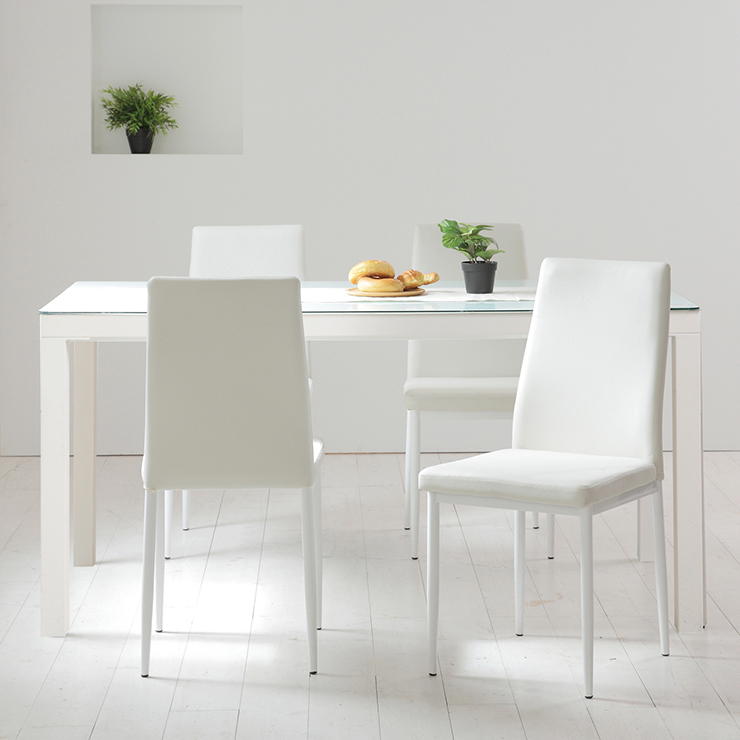 ガラス ダイニングセット 5点セット ホワイト ダイニング ダイニングテーブル ダイニングチェア 椅子 天板 幅130 W130(代引不可)【送料無料】