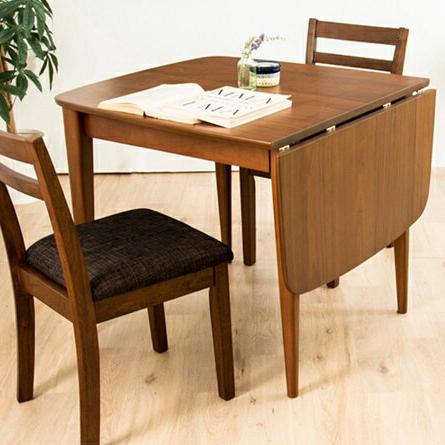 ダイニングテーブル 3点セット ダイニングセット 木製 北欧 伸長式 伸縮 幅83-120cm+ダイニングチェア2脚 バタフライテーブル(代引不可)【送料無料】【S1】