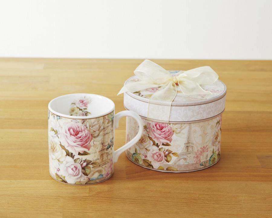 マグカップ エッフェルローズ 陶器 薔薇柄マグカップ ギフト 薔薇雑貨(代引不可)