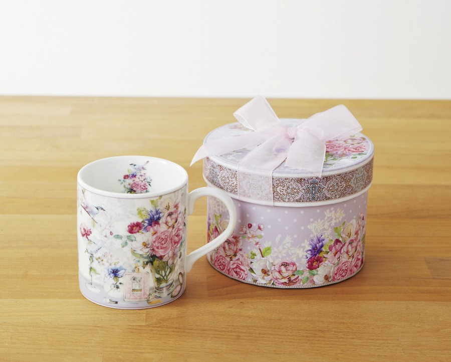 マグカップ ローズルーム 陶器 薔薇柄マグカップ ギフト 薔薇雑貨(代引不可)