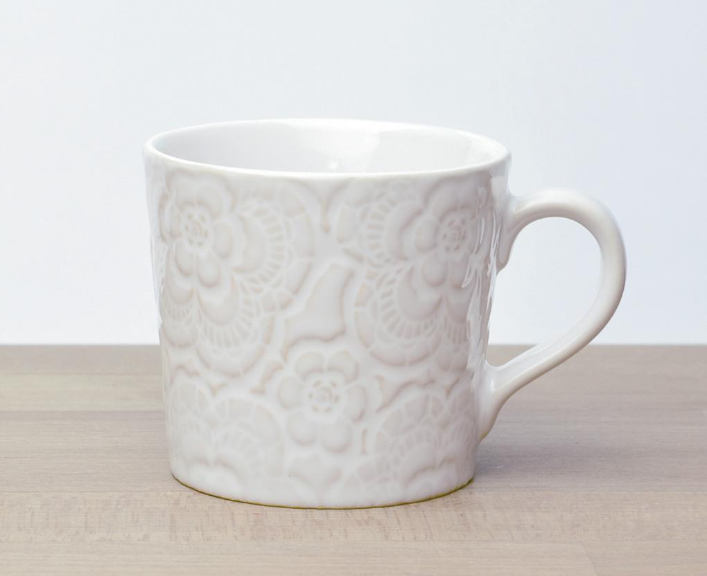マグカップ ミニマグカップ フラワーホワイト 花柄が型押しされたマグカップ(代引不可)