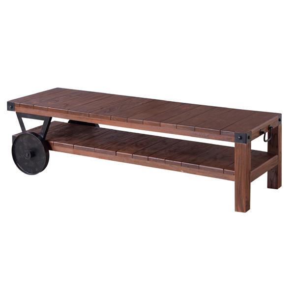 テーブル リビングテーブル センターテーブル 木製 おしゃれ 人気 車輪付き ローテーブル古木風 カフェ アイアン アメリカン(代引不可)【送料無料】