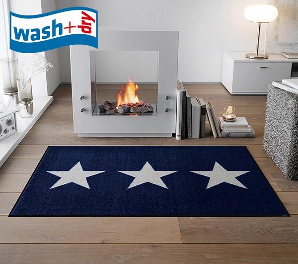 玄関マット wash+dry C027B Stars navy 75x120cm 柄物 おしゃれ 滑り止めラバーつき(代引不可)【送料無料】