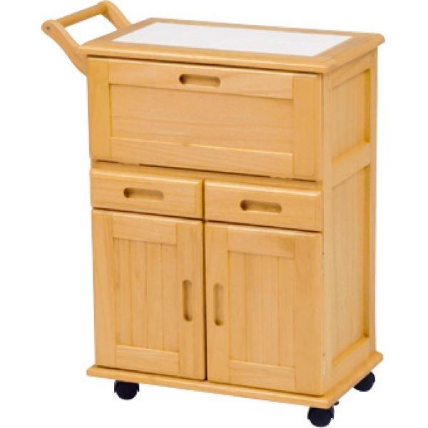キッチンワゴン キャスター付き 木製 タイル張り天板 MW-3709 ナチュラル 【代引不可】