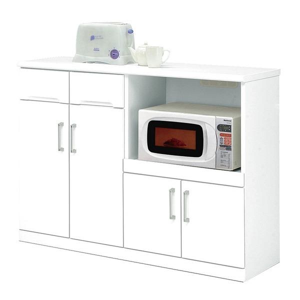 キッチンカウンター 幅120cm 二口コンセント/可動棚/キャスター付き 日本製 ホワイト(白) 【完成品】【代引不可】