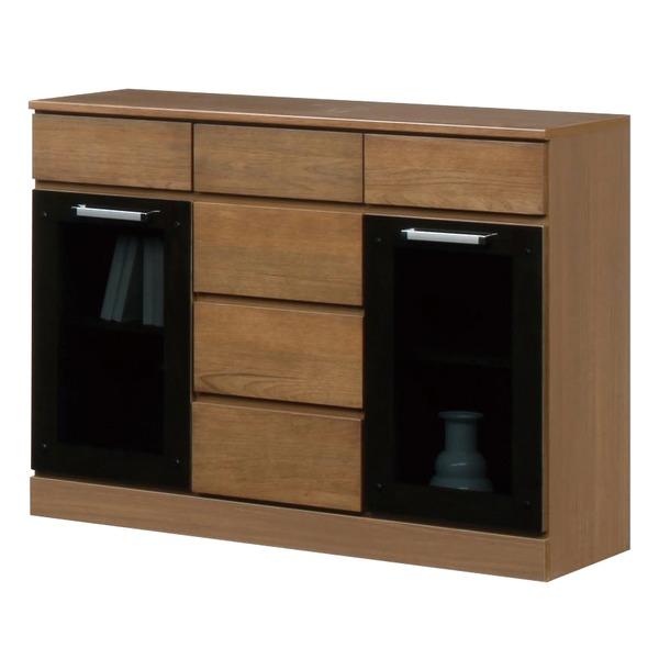 キャビネットB(サイドボード/キッチン収納) 【幅111cm】 木製 ガラス扉付き 日本製 ブラウン 【完成品】【代引不可】