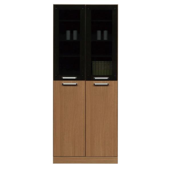 フリーボード(キャビネット/キッチン収納) 【幅74cm】 木製 ガラス扉/可動棚付き 日本製 ブラウン 【完成品】【代引不可】