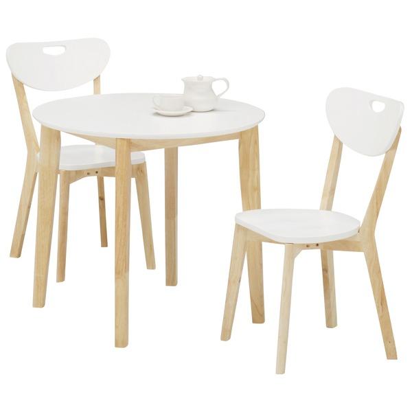 ダイニングセット 3点 【ラウンドダイニングテーブル(ホワイト天板)幅80cm&チェア2点(ホワイト/白)セット】 木製【代引不可】