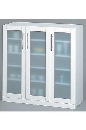 食器棚 ホワイト カトレア・食器棚90-90(代引き不可)【送料無料】