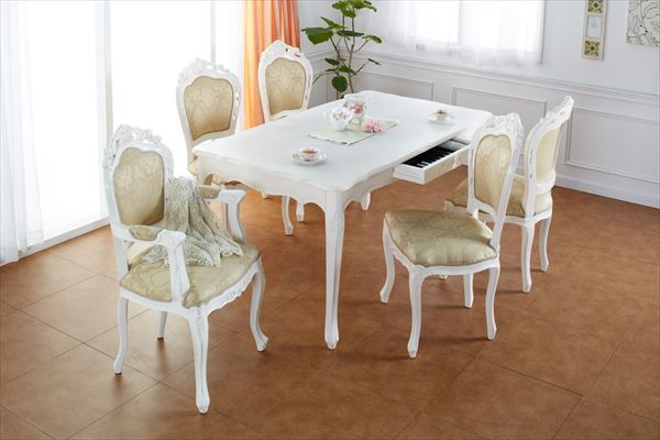 ダイニングテーブル アンティーク クラシック ヨーロッパ 家具 アンティーク調クラシック家具 コモ 単品 幅135cm(代引不可)【送料無料】