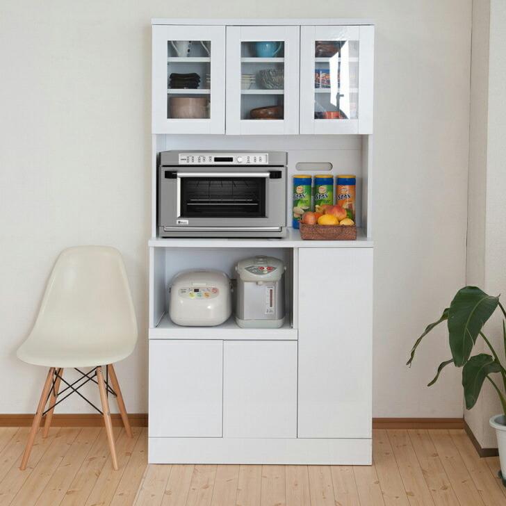 キッチンシリーズFace カップボード幅90 ホワイト(代引不可)【送料無料】