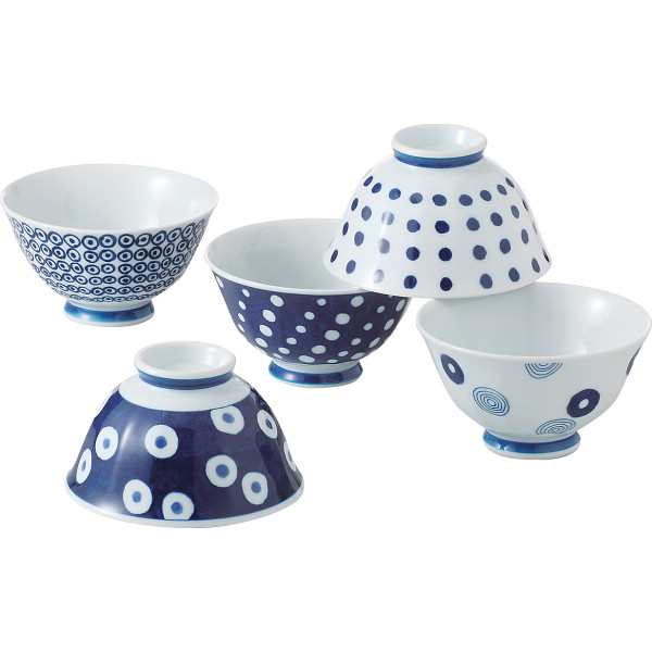 藍丸紋 軽量飯碗5客揃 和陶器 和陶茶碗 絵変り茶碗セット 13303(代引不可)
