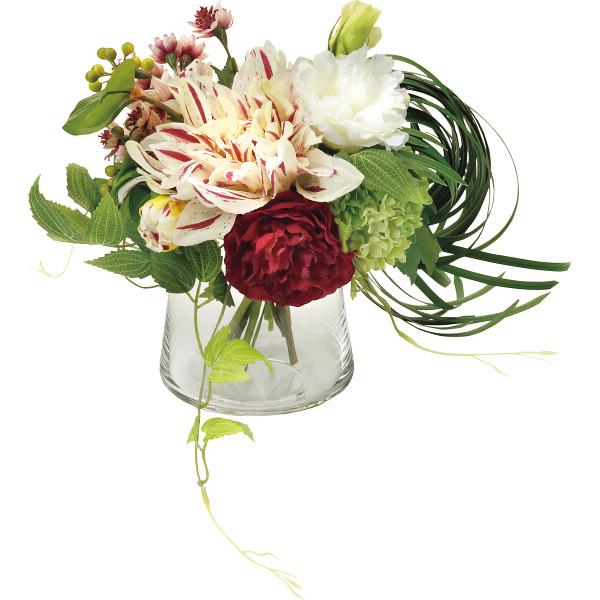 PRIMA ガラスベ-スアレンジ(造花) バーガンディ 室内装飾品 花 グリ-ン ア-トアレンジ花 PRSY-0099(代引不可)【送料無料】