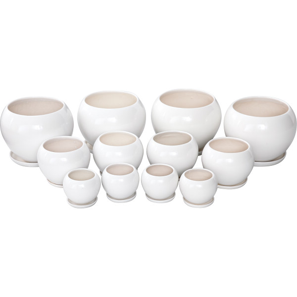 陶器植木鉢12点セット(受皿付) ホワイト 台所 日用品 収納 DIY用品 園芸用品 UH05/3DWH-4(代引不可)【送料無料】
