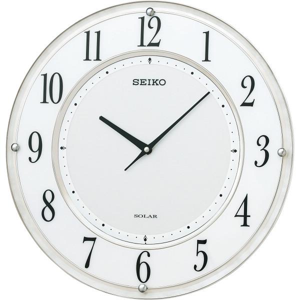 セイコー ソーラープラス薄型電波掛時計 室内装飾品 掛け時計 振り子無し丸型時計 SF506W(代引不可)【送料無料】