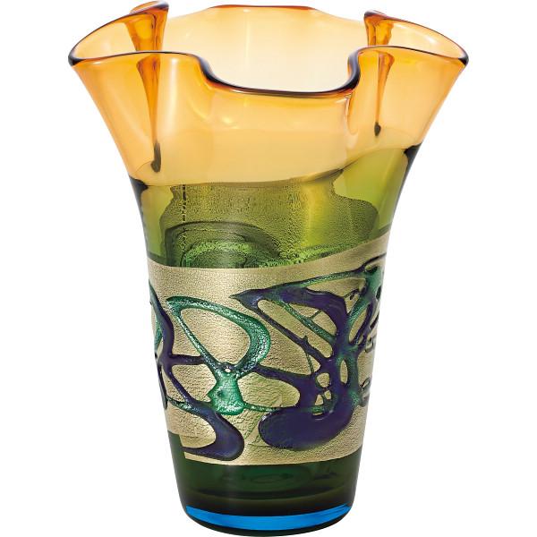 津軽びいどろ 津軽びいどろ 北彩フリル花器 北彩 室内装飾品 花瓶 ガラス花瓶 F71323(代引不可)【送料無料】