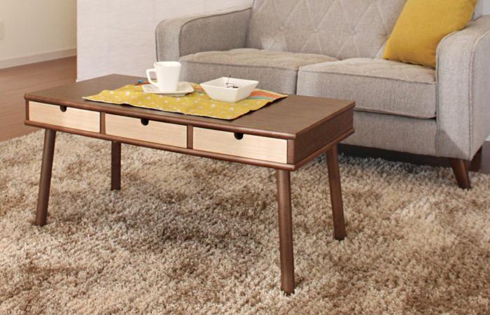 リビング テーブル ローテーブル センターテーブル カフェ 北欧 (サンド)リビングテーブル 引き出し付(代引不可)【送料無料】